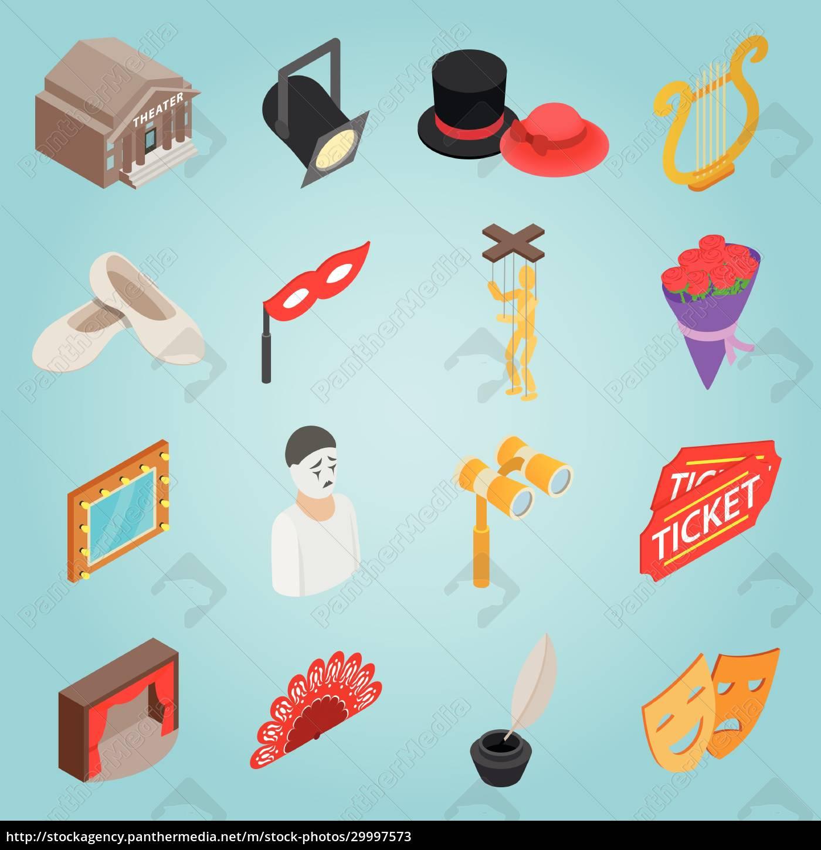 theatre, set, icons, , isometric, 3d, style - 29997573